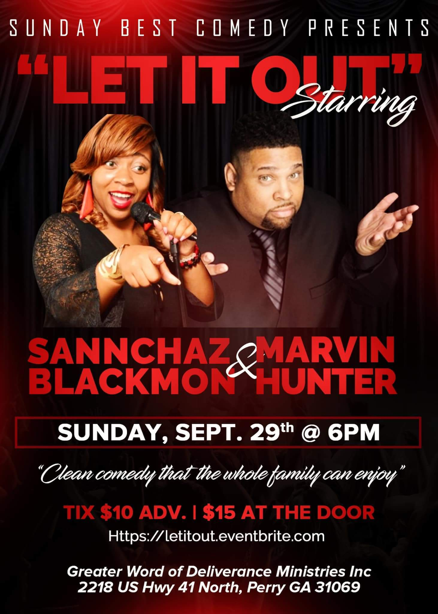 "Sunday Best Comedy Presents: ""Let it Out!"" Sannchaz Blackmon & Marvin Hunter"
